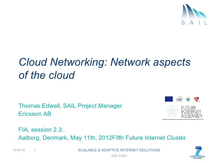 Cloud Networking: Network aspects   of the cloud   Thomas Edwall, SAIL Project Manager   Ericsson AB   FIA, session 2.3:  ...