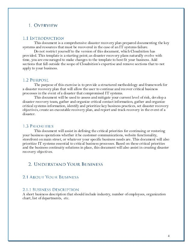 Disaster Recovery Plan Template Word - Business continuity and disaster recovery plan template