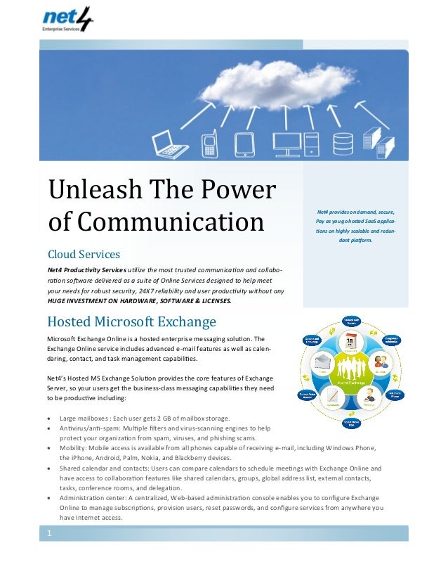 Unleash The Power of Communication Net4 Enterprise Services Net4 provides on demand, secure, Pay as you go hosted SaaS app...