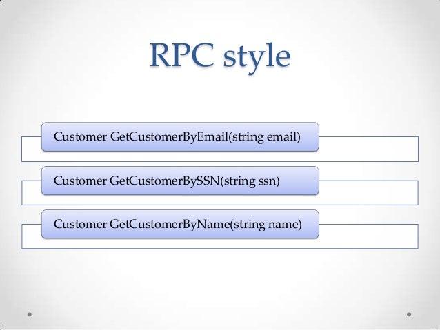 RPC styleCustomer GetCustomerByEmail(string email)Customer GetCustomerBySSN(string ssn)Customer GetCustomerByName(string n...