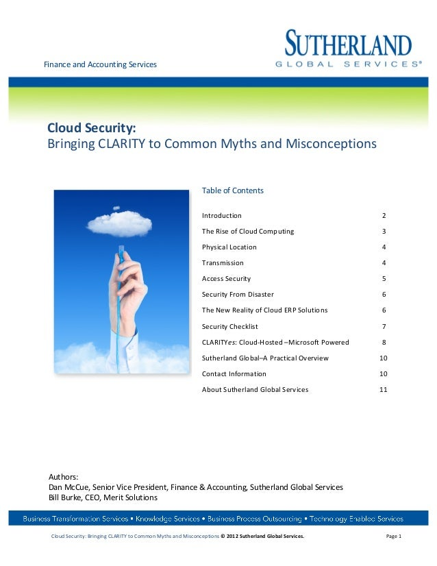 Finance and Accounting Services   Cloud Security:  Bringing CLARITY to Common Myths and Misc...