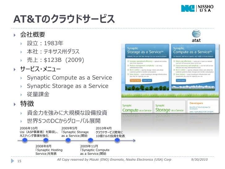 AT&Tのクラウドサービス    会社概要        設立:1983年        本社:テキサス州ダラス        売上:$123B (2009)    サービス・メニュー        Synaptic Compute...