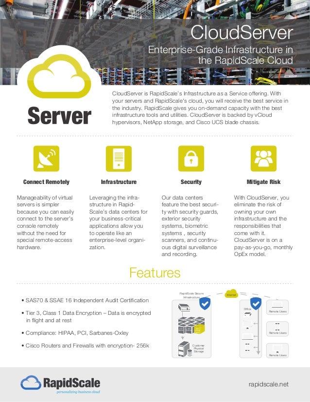 CloudServer Enterprise-Grade Infrastructure in the RapidScale Cloud rapidscale.net CloudServer is RapidScale's Infrastruct...