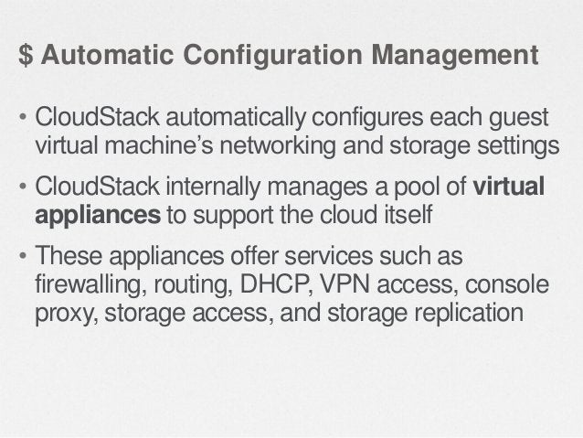 $ Graphical User Interface • CloudStack offers an administrator's Web interface, used for provisioning and managing the cl...