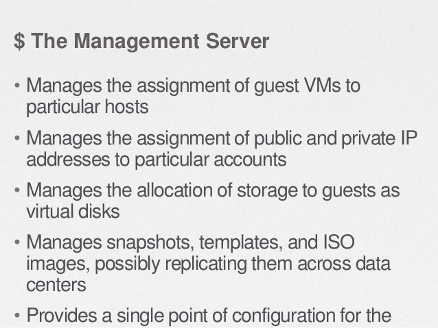 $ The Management Server • Provides the web user interface for the administrator and a reference user interface for end use...