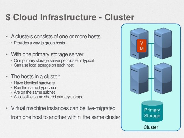 $ Cloud Infrastructure - Pod • A pod consist of one or more clusters • A pod often represents a single rack • Hosts in the...