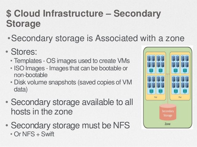 $ Cloud Infrastructure Summary  CloudStack Management Server  • One or more hosts grouped into a cluster  Second ary Stora...