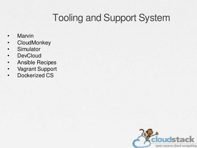 Tooling and Support System • Marvin • CloudMonkey • Simulator • DevCloud • Ansible Recipes • Vagrant Support • Dockerized ...