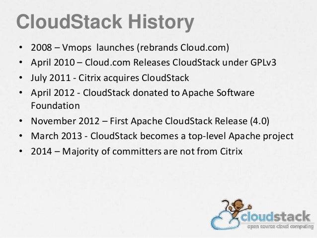 CloudStack History • 2008 – Vmops launches (rebrands Cloud.com) • April 2010 – Cloud.com Releases CloudStack under GPLv3 •...