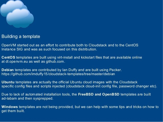 CloudStack templates with OpenVM