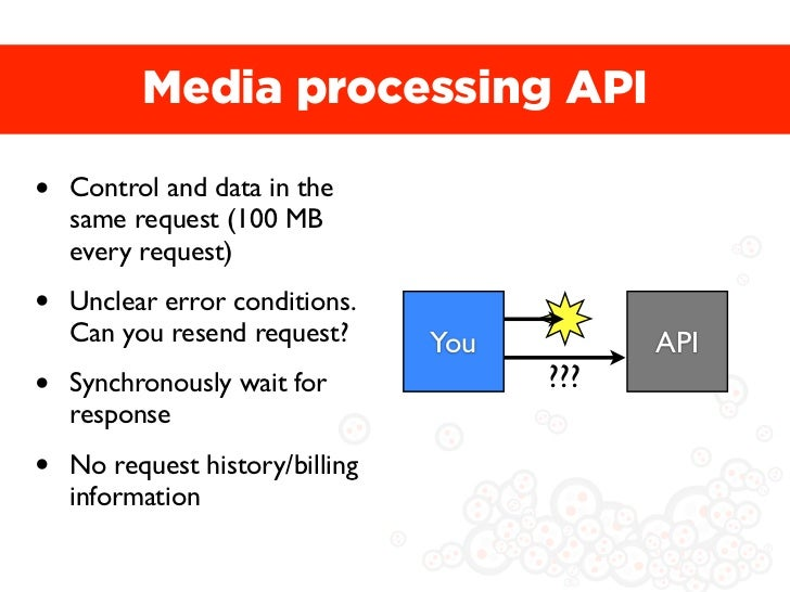 Media processing API•   Control and data in the    same request (100 MB    every request)•   Unclear error conditions.    ...