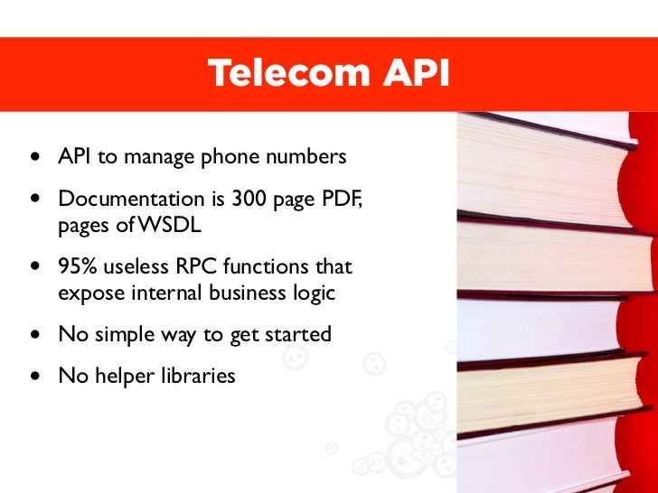 Telecom API•   API to manage phone numbers•   Documentation is 300 page PDF,    pages of WSDL•   95% useless RPC functions...