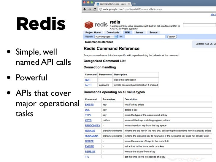 Redis•   Simple, well    named API calls•   Powerful•   APIs that cover    major operational    tasks