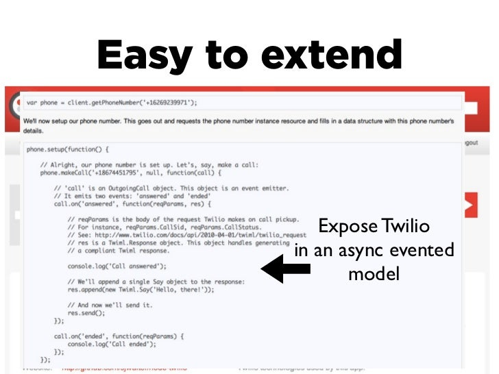 Easy to extend            Expose Twilio         in an async evented                model