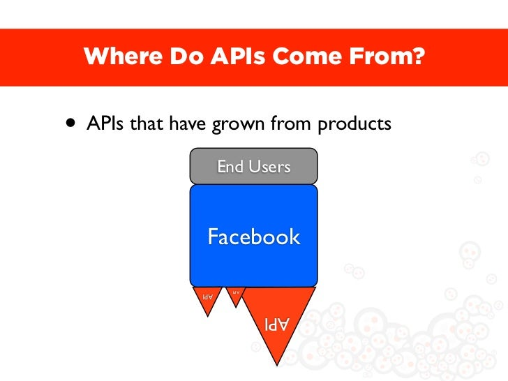 Where Do APIs Come From?• APIs that have grown from products                     End Users                Facebook        ...