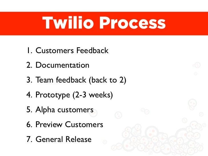 Twilio Process1. Customers Feedback2. Documentation3. Team feedback (back to 2)4. Prototype (2-3 weeks)5. Alpha customers6...
