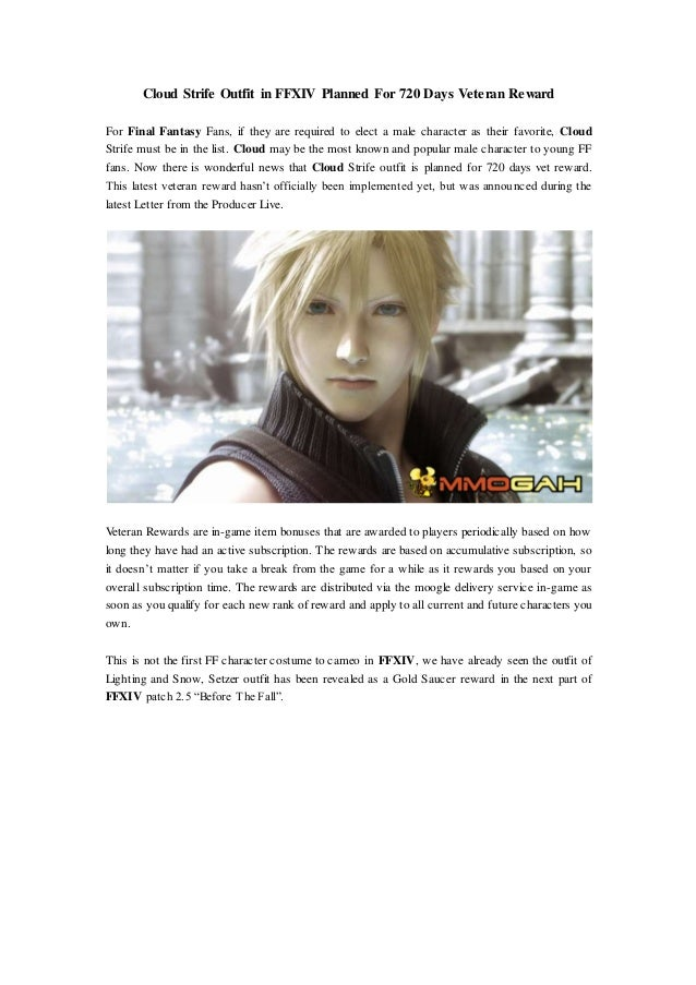 Cloud strife outfit in ffxiv planned for 720 days veteran reward