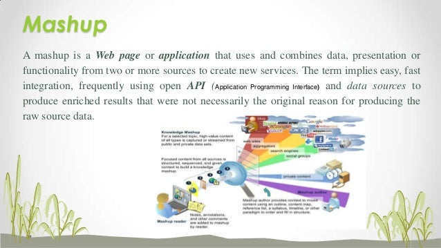 Mashup A mashup is a Web page or application that uses and combines data, presentation or functionality from two or more s...