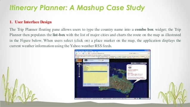 """Itinerary Planner: A Mashup Case Study Selecting a destination from the list-box and clicking the """"Google"""" icon causes the..."""