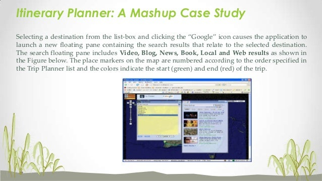 Itinerary Planner: A Mashup Case Study 2. Data Integration Design The Google Maps API retrieves Google Maps, the Google Aj...