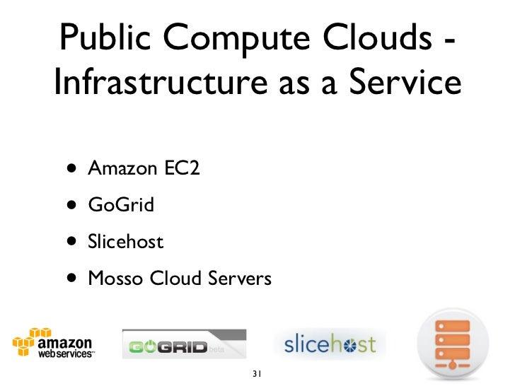 Public Compute Clouds - Infrastructure as a Service  • Amazon EC2 • GoGrid • Slicehost • Mosso Cloud Servers              ...