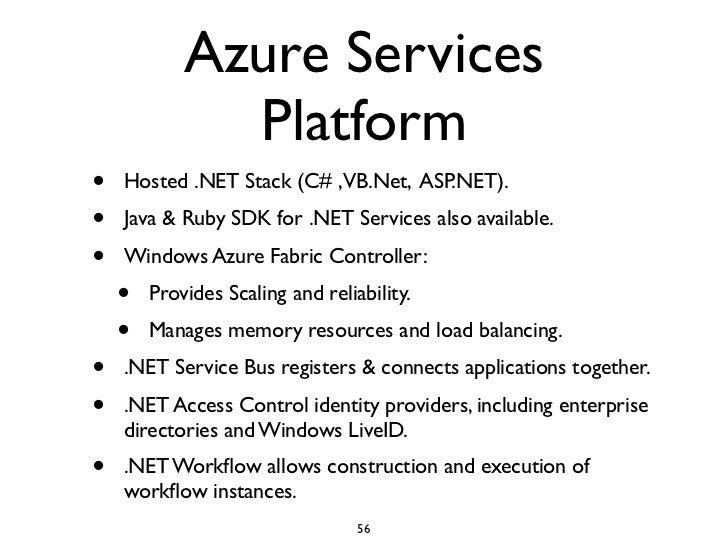 Azure Services               Platform •   Hosted .NET Stack (C# ,VB.Net, ASP.NET). •   Java & Ruby SDK for .NET Services a...