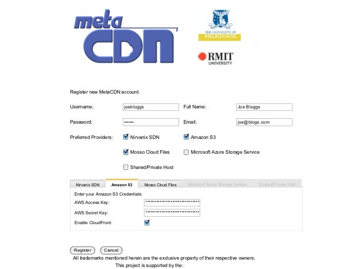 Register new MetaCDN account:   Username:                  joebloggs                        Full Name:                 Joe...