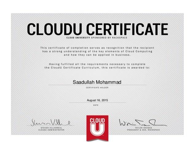 CloudU Certificate (Cloud University, RackSpace)