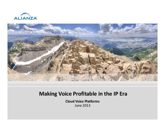 Making Voice Profitable in the IP EraCloud Voice PlatformsJune 2013