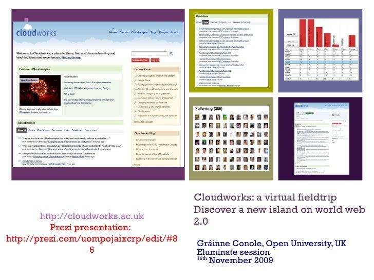 Cloudworks: a virtual fieldtrip Discover a new island on world web 2.0 Gráinne Conole, Open University, UK Eluminate sessi...