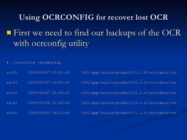 ocrconfig -overwrite