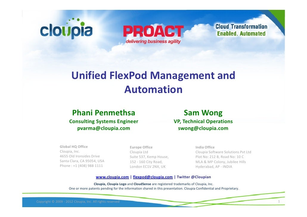 Unified FlexPod Management and                                  Automation                        Phani Penmethsa         ...