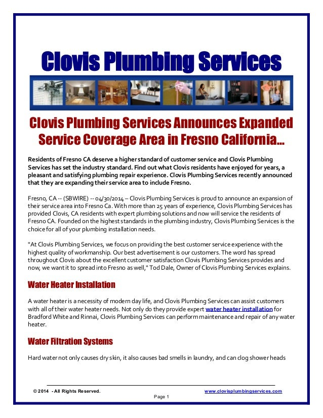 Clovis Plumbing Services Clovis Plumbing Services Announces Expanded Service Coverage Area in Fresno California... Residen...
