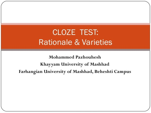 Cloze & dictation tests