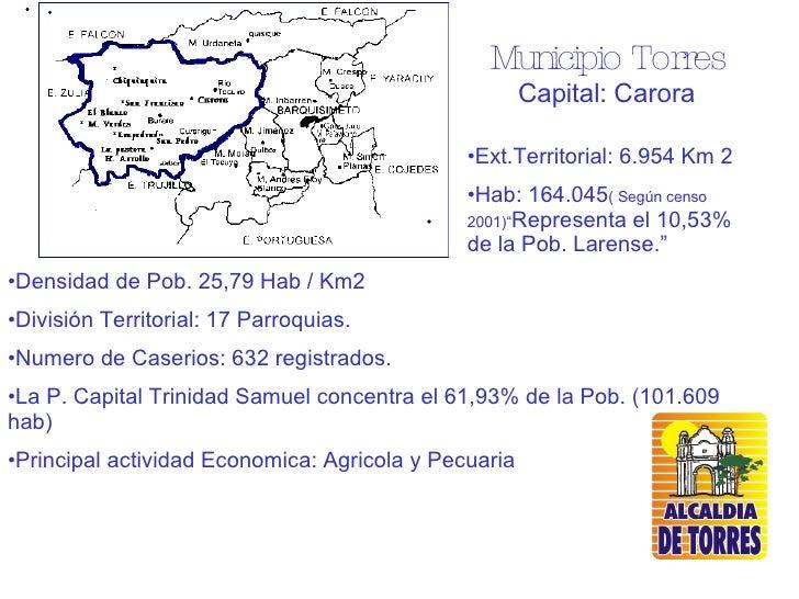 <ul><li>Densidad de Pob. 25,79 Hab / Km2 </li></ul><ul><li>División Territorial: 17 Parroquias. </li></ul><ul><li>Numero d...
