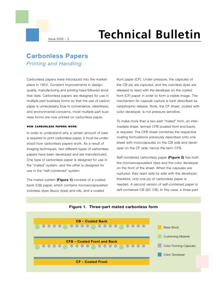 Technical Bulletin               Issue 2005 – 3     Carbonless Papers Printing and Handling  Carbonless papers were introd...