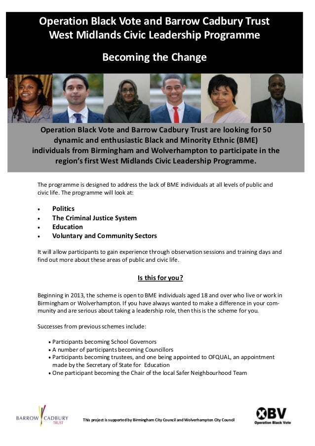 Operation Black Vote and Barrow Cadbury Trust  West Midlands Civic Leadership Programme                             Becomi...
