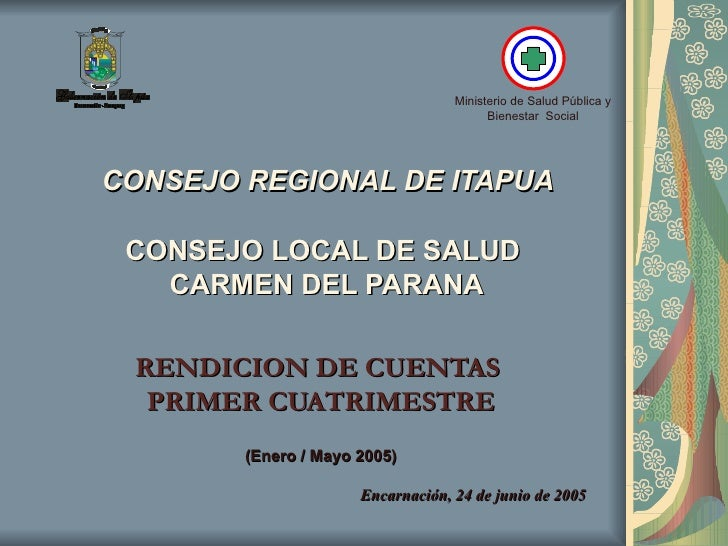 CONSEJO REGIONAL DE ITAPUA   CONSEJO LOCAL DE SALUD  CARMEN DEL PARANA RENDICION DE CUENTAS  PRIMER CUATRIMESTRE (Enero ...