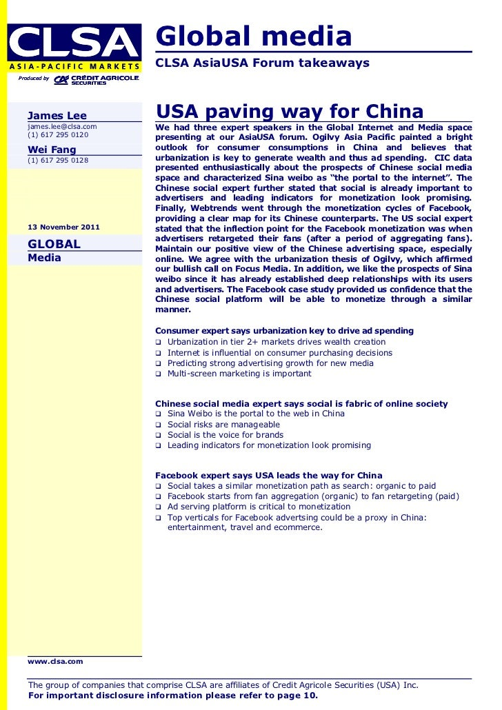 Global media                                  CLSA AsiaUSA Forum takeawaysProduced by   James Lee                      USA...