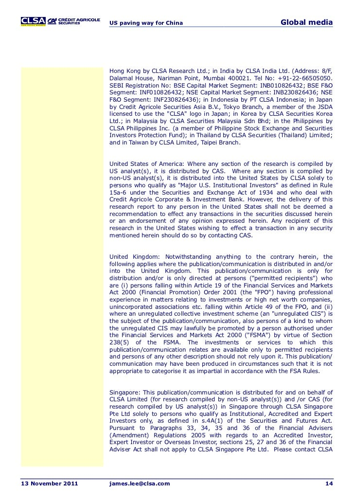 clsa research For 30 years, clsa has consistently presented a differentiated, independent  view clsa has built its reputation on providing global investors with unique.
