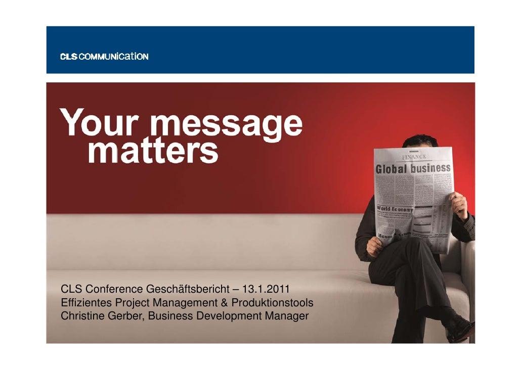"""CLS Conference """"Wohin entwickelt sich der Geschäftsbericht?"""" Christine Gerber"""
