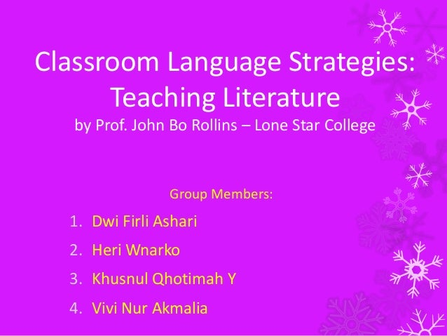 Modern Language Classroom Techniques ~ Classroom language strategies teaching literature