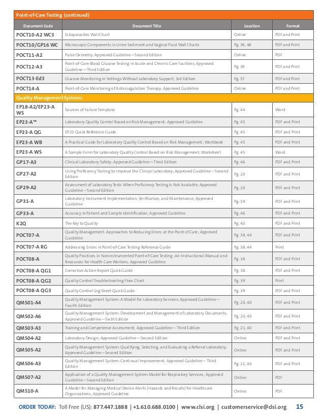 Clsi 2015 Catalog