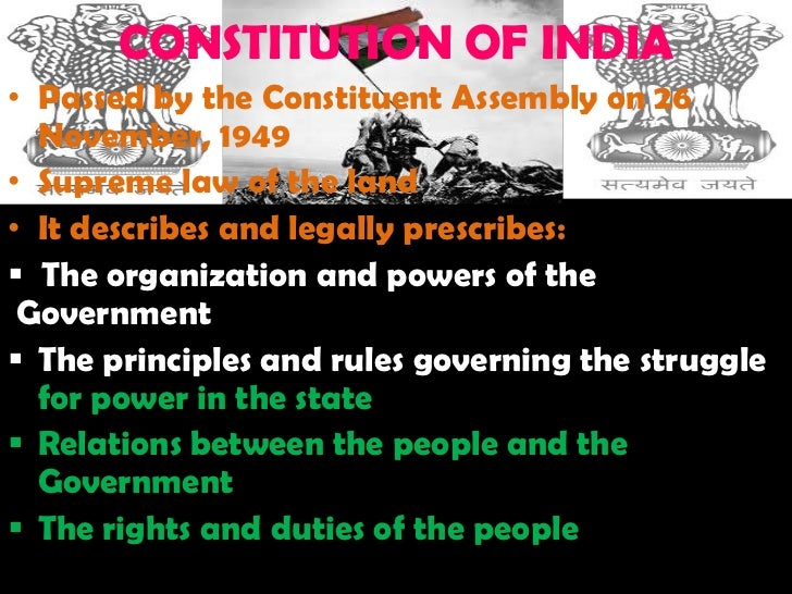 """nature of indian constitution Constitution of india: federal of unitary debate about federal or unitary constitution: when the constitution of india which came into force on january 26, 1950, mr wheare [author of federal government, 4th edition, pages 26-27], said """"constitution of republic of india, has federal features though it does not in fact claim that it establishes a."""