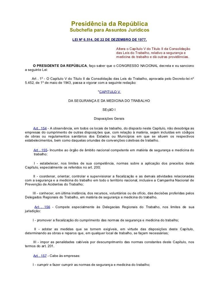Presidência da República                             Subchefia para Assuntos Jurídicos                              LEI Nº...