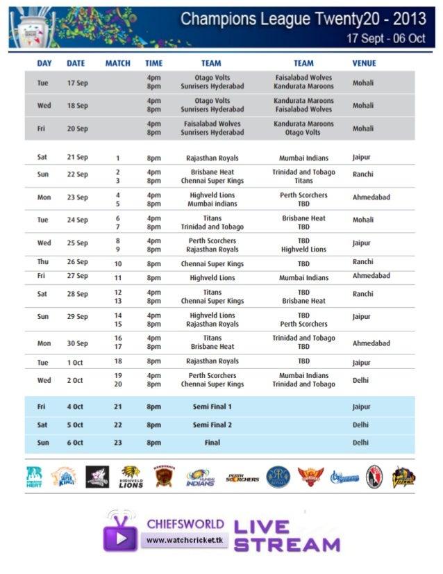 Clt20_2013 schedule
