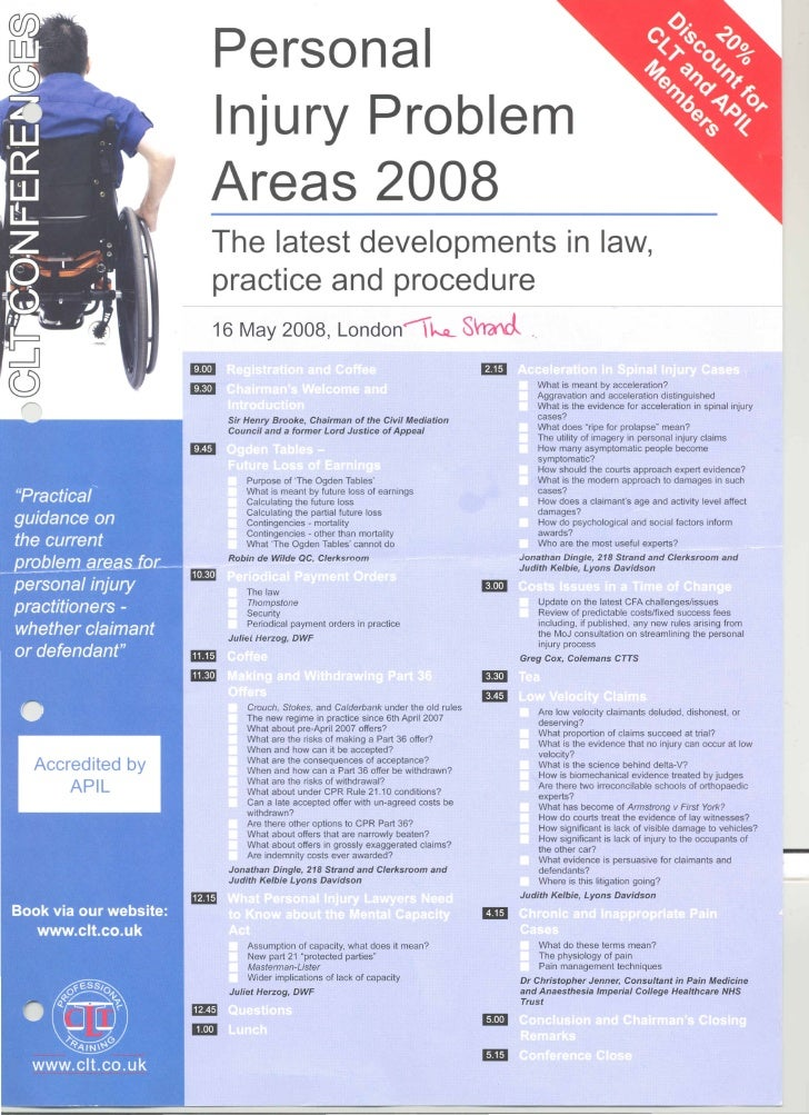 C L T  Conferences   Personal  Injury  Problem  Areas 16 May 2008
