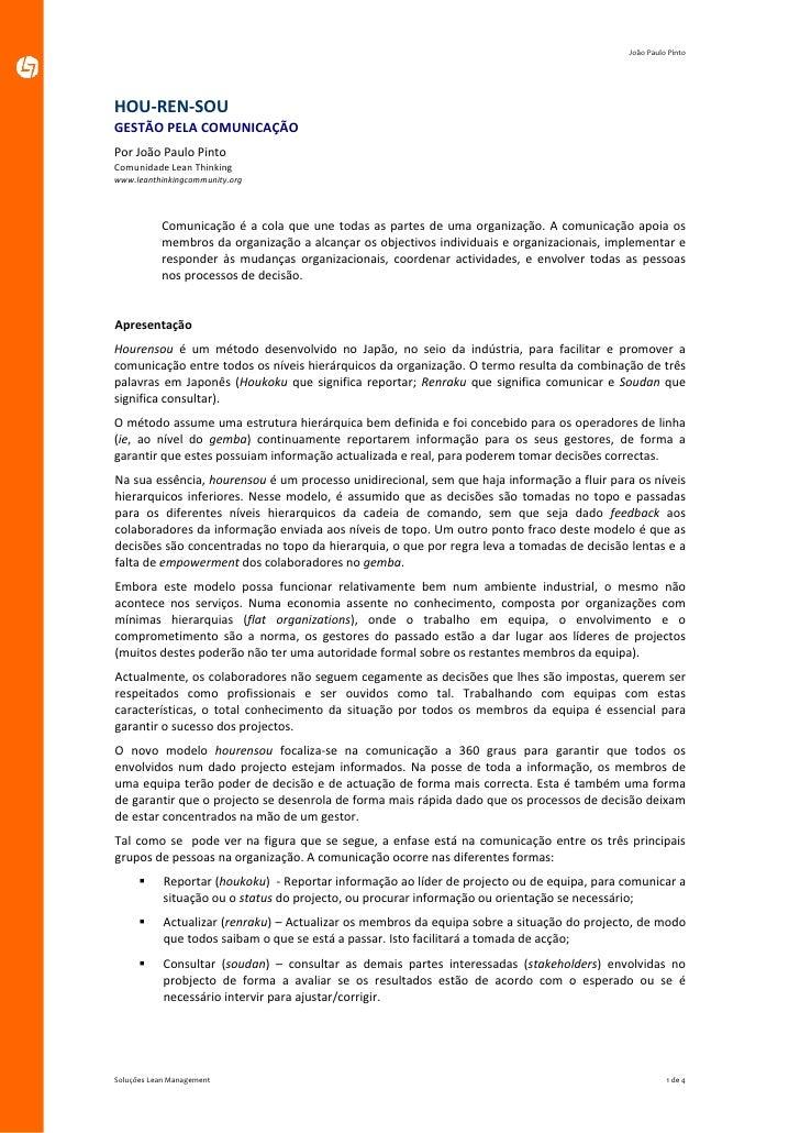 JoãoPauloPinto     HOU‐REN‐SOU GESTÃOPELACOMUNICAÇÃO PorJoãoPauloPinto ComunidadeLeanThinking www.leanthinki...