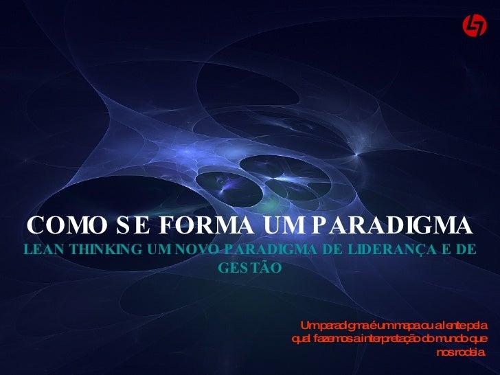 Um paradigma é um mapa ou a lente pela qual fazemos a interpretação do mundo que nos rodeia. COMO SE FORMA UM PARADIGMA LE...