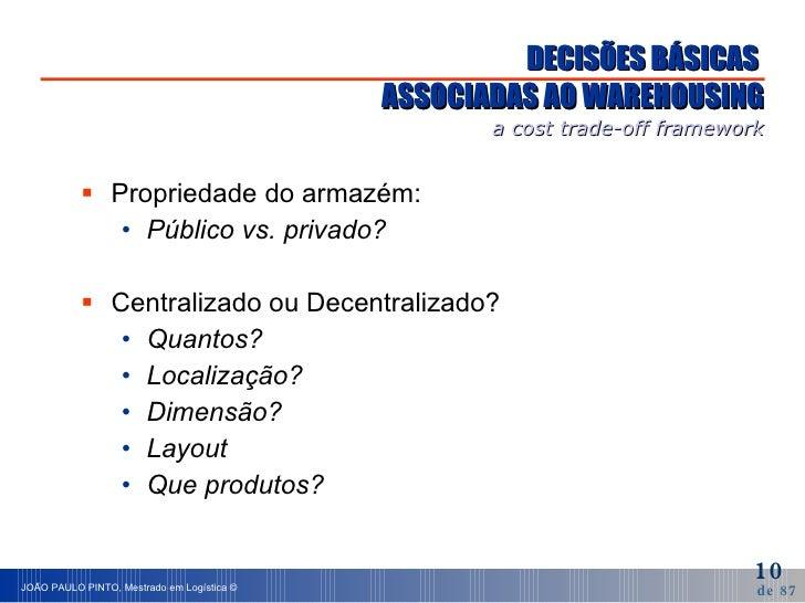DECISÕES BÁSICAS  ASSOCIADAS AO WAREHOUSING a cost trade-off framework <ul><li>Propriedade do armazém: </li></ul><ul><ul><...